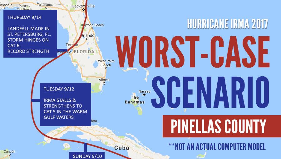 Hurricane Irma Worst-Case Scenario for Pinellas County, FL