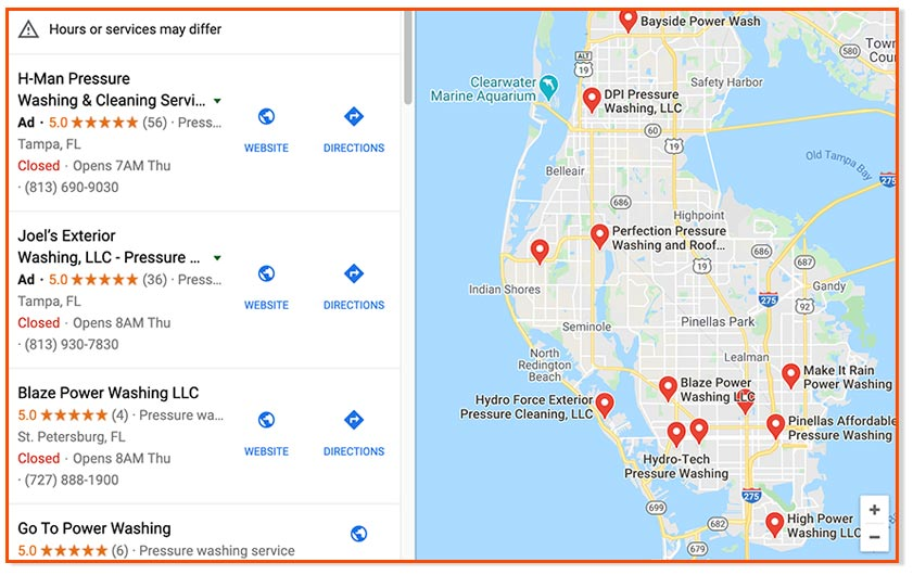 Sample Google Business Maps Results