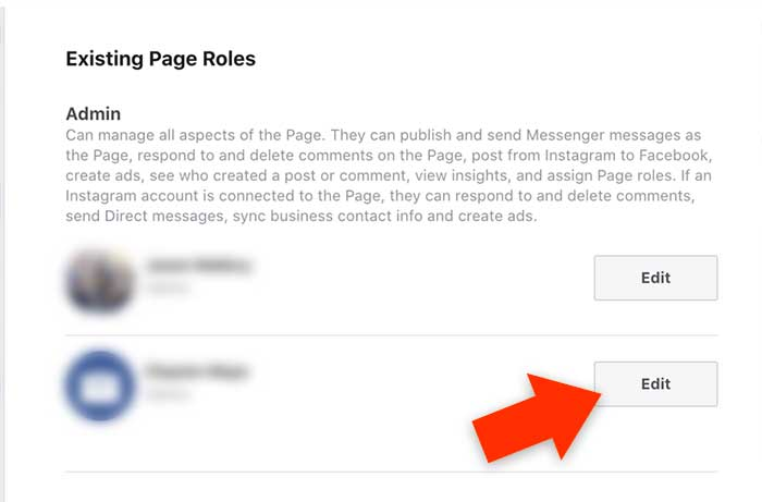 Edit Admin User Selection on Facebook Business Page